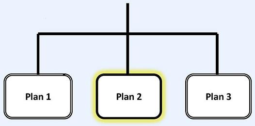 Flow Chart: CLASS Independence Benefit Plan leads to Plan 1, Plan 2 (highlighted) and Plan 3.
