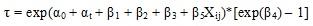 t = exp(Alpha subscript 0 + Alpha subscript t + Beta subscript 1 + Beta subscript 2 + Beta subscript 3 + Beta subscript 5 X subscript ij)*[exp(Beta subscript 4) - 1]
