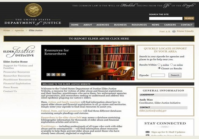 Screen shot of the DoJ Elder Justice Initiative Home Page.