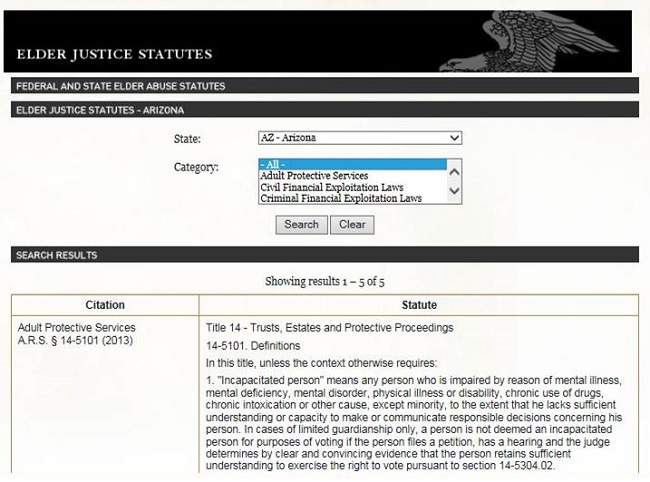 Screen shot of the DoJ Elder Justice Initiative website, Elder Justice Statutes page.