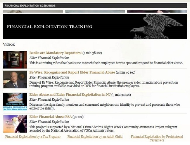 Screen shot of the DoJ Elder Justice Initiative website, Financial Exploitation Training page.