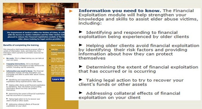 Screen shot of the Office for Victims of Crime website, Training and Technical Assistance page.