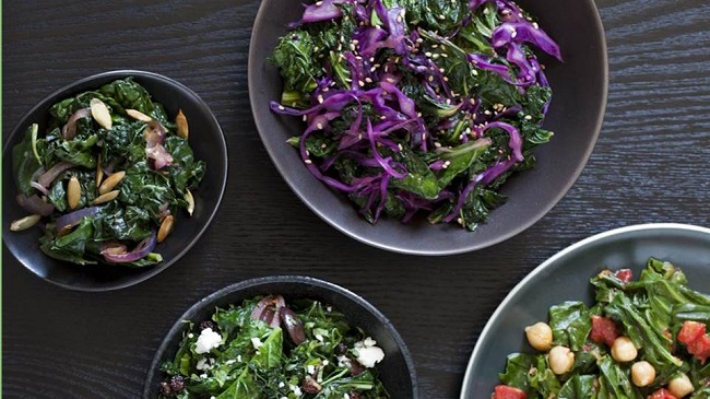 Photo of bowls of different salads.