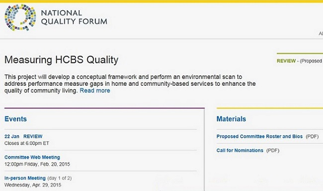 Screen Shot of the National Quality Forum's Measuring HCBS Quality page.