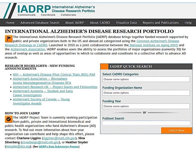 Screen Shot: International Alzheimer's Disease Research Portfolio Home Page. See NOTE for URL.