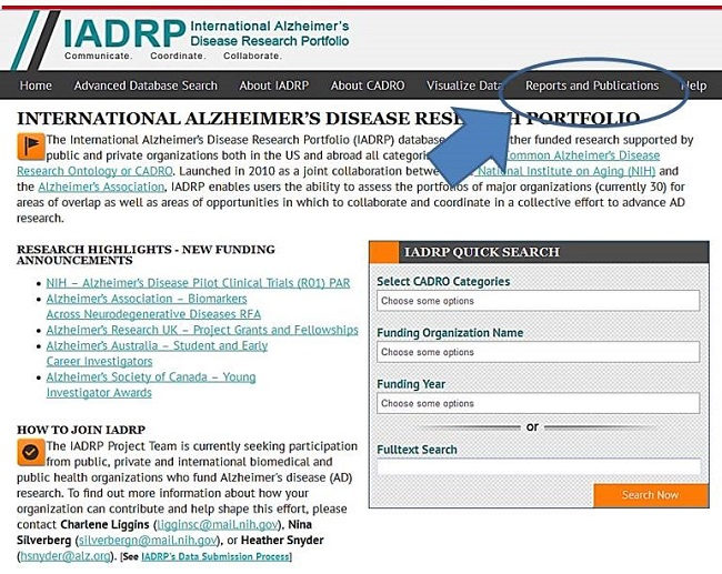 Screen Shot: International Alzheimer's Disease Research Portfolio Home Page. Reports and Publications circled. See NOTE for URL.