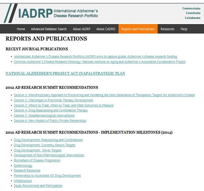 Screen Shot: IADRP Reports and Publications Page. See NOTE for URL.