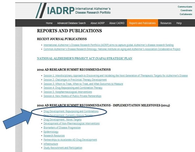 Screen Shot: IADRP Reports and Publications Page. Drug Development: Repurposing and Combinations circled. See NOTE for URL.