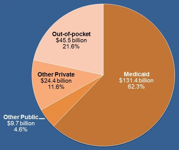 Pie Chart: Out-of-pocket ($45.5 billion, 21.6%); Other Private ($24.4 billion, 11.6%); Other Public ($9.7 billion, 4.6%); Medicaid ($131.4 billion, 62.3%).