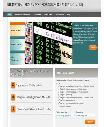 International Alzheimer's Disease Research Portfolio screen shot