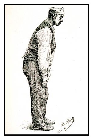 Pencil drawing of standing man.