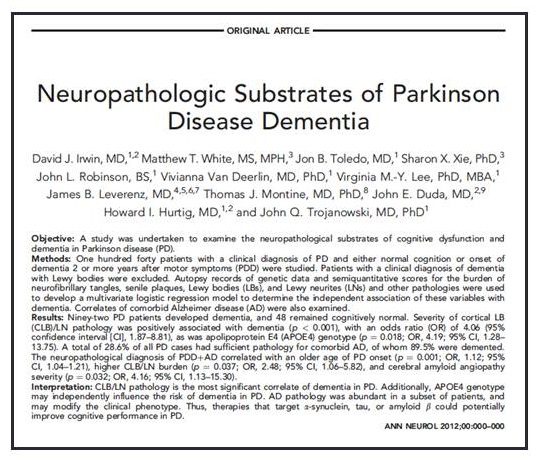 Screen shot of article Neuropathologic Substrates of Parkinson Disease Dementia.