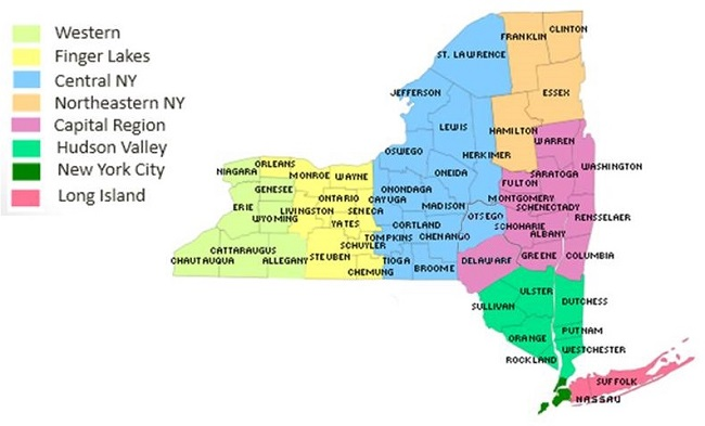 Map of New York that color codes the regions: Western, Finger Lakes, Central, Northeastern, Capital, Hudson Valley, New York City, and Long Island