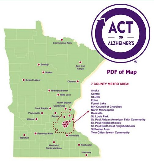 Minnesota map from ACT on Alzheimer's.