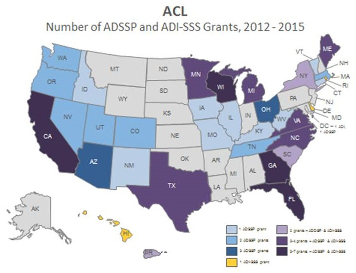 State map showing the number range of ADSSP and ADI-SSS Grants per state