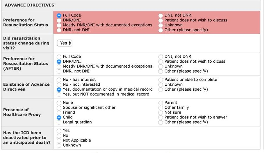 Screen shot of assessment tool.