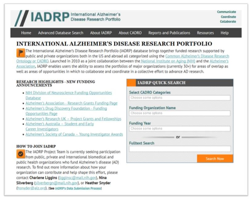 Screen shot of IADRP website home page.