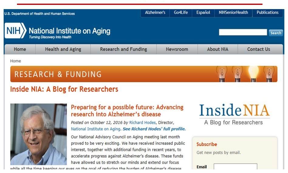 Screen shot of the NIA website, Blog - Insite NIA page.