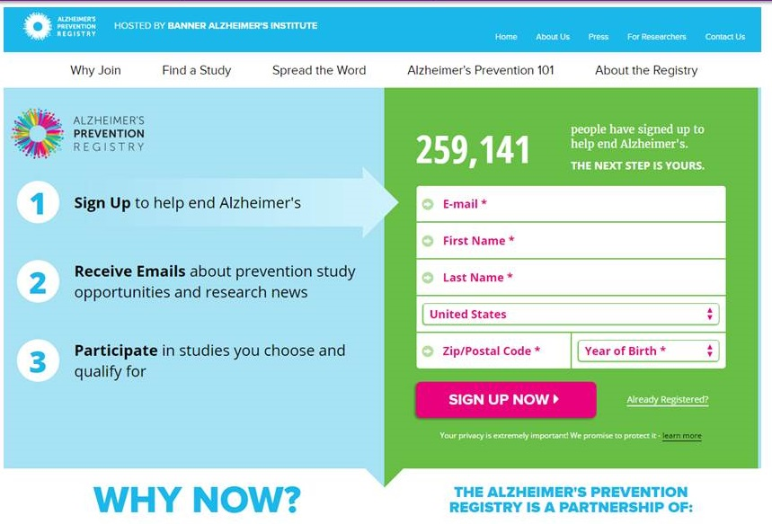 Alzheimer's Prevention Registry Home Page screen shot.