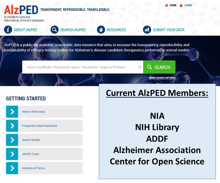 AlzPED Home Page screen shot.