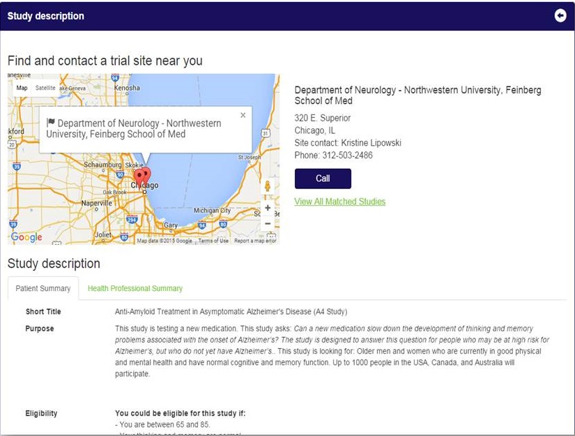 Study description screen shot.