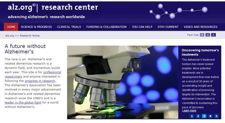 Alzheimer's Association Research Website screen shot.