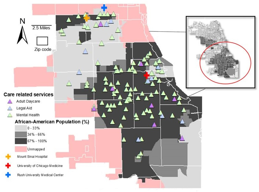 Geographic distribution of unmet caregiver needs on the South Side of Chicago.