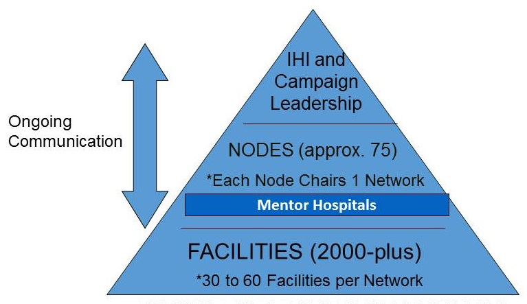 TOP: IHI and Campaign Leadership; MIDDLE: NOES (approx. 75) *Each Node Chairs 1 Network, Mentor Hospitals; BOTTOM: Facilities (2000-plus) *30 to 60 Facilities per Network.