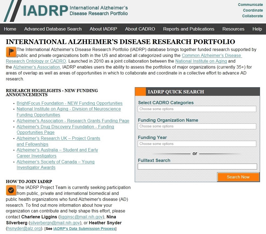 International Alzheimer's Disease Research Portfolio Home Page screen shot.