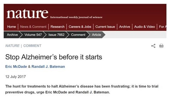 Screen shot of Nature: International Weekly Journal of Science article, Stop Alzheimer's before it starts.