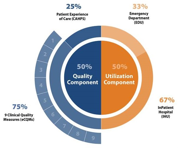 50% Quality Component--25% Patient Experience of Care, 75% 9 Clinical Quality Measures; 50% Utilization Component--33% Emergency Department, 67% Inpatient Hospital.