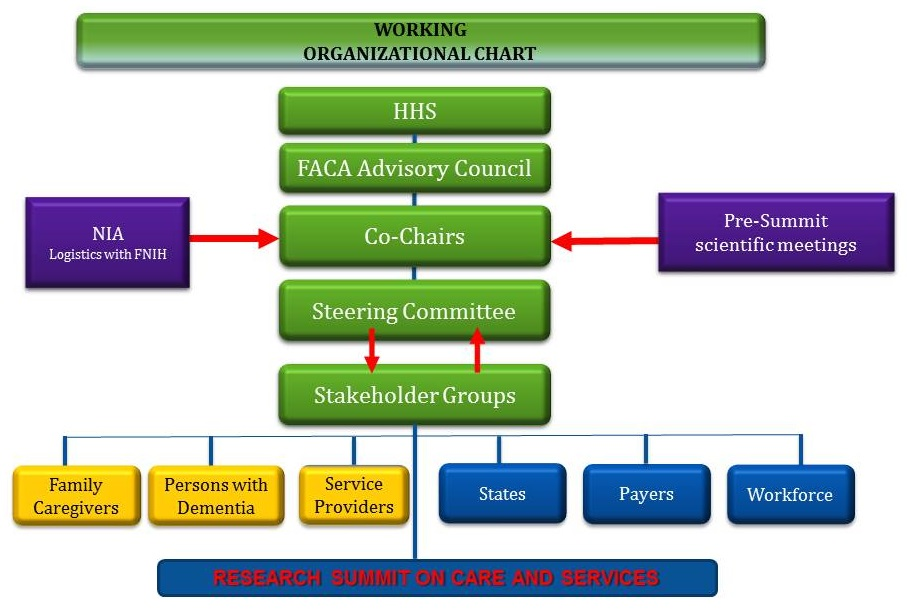 Organizational chart structure for the Summit.