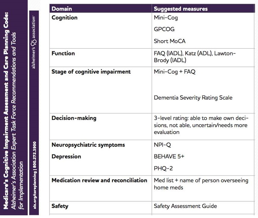 Screen shot of the Medicare's Cognitive Impairment Assessment and Care Planning Code: Alzheimer's Association Expert Task Force Recommendations and Tools for Implementation, page 3.