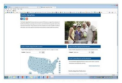 Screen shot of Public Data Portal on the Health of Older Adults.
