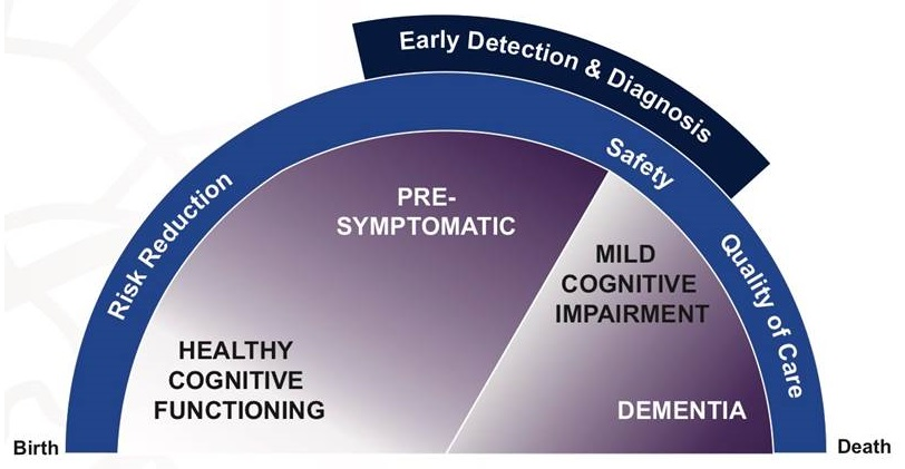 Semi-circle chart: Birth to Death range; Early Detection and Diagnosis; Risk Reduction, Safety, Quality of Care; Healthy Cognitive Functioning, Pre-Symptomatic, Mild Cognitive Impairment, Dementia.