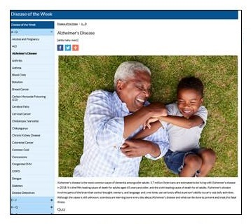 Screen shot of CDC Alzheimer's Disease.