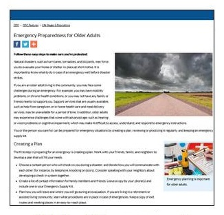 Screen shot of CDC Emergency Preparedness for Older Adults.
