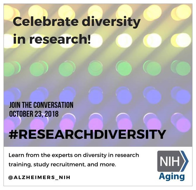 Poster: Celebrate diversity in research! Join the conversation October 23, 2018. #RESEARCHDIVERSITY Learn from the experts on diversity in research training, study recruitment, and more. @ALZHEIMERS_NIH
