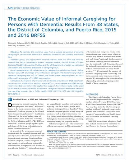 Article cover: The Economic Value of Informal Caregiving for Persons With Dementia: Results From 38 States, the District of Columbia, and Puerto Rico, 2015 and 2016 BRFSS.