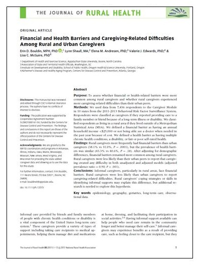 Article cover: Financial and Health Barriers and Caregiving-Related Difficulties Among Rural and Urban Caregivers.