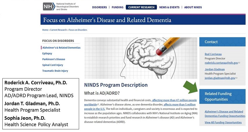 NINDS AD/ADRD website screen shot.