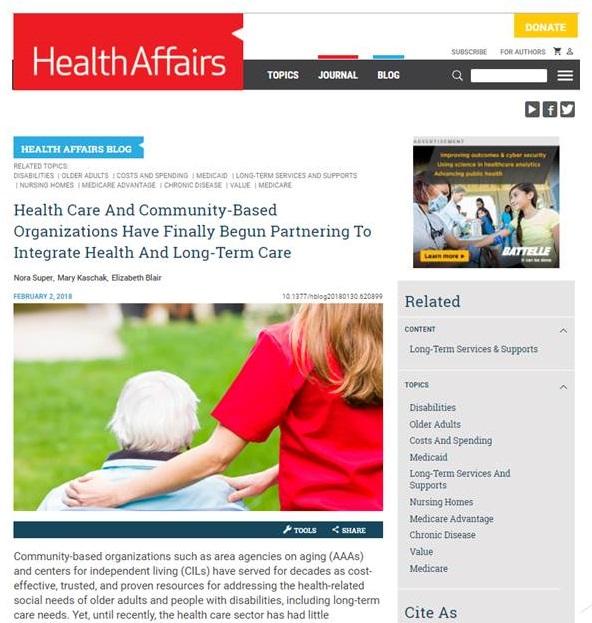 Health Affairs website screen shot.