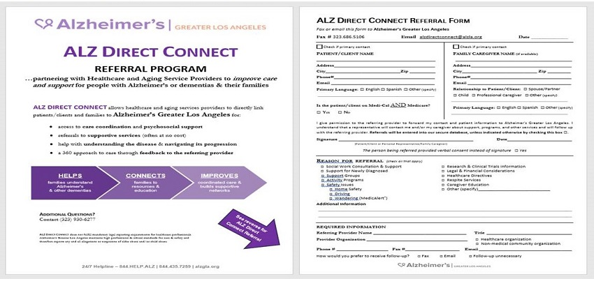 ALZ Direct Connect Referral Form screen shot.