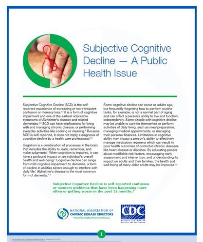 Subjective Cognitive Decline cover.