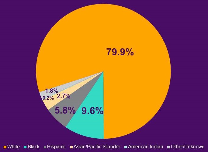 Pie chart: White (79.9%), Black (9.6%), Hispanic (5.8%), Asian/Pacific Islander (2.7%), American Indian (0.2%), Other/Unknown (1.8%).