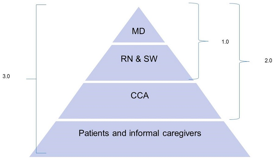 Pyramid: Top Row--MD; Second Row--RN & SW; Third Row--CCA; Bottow Row--Patients and informal caregivers. All four rows=3.0; Top, Second and Third Rows=2.0; Top and Second Rows=1.0.