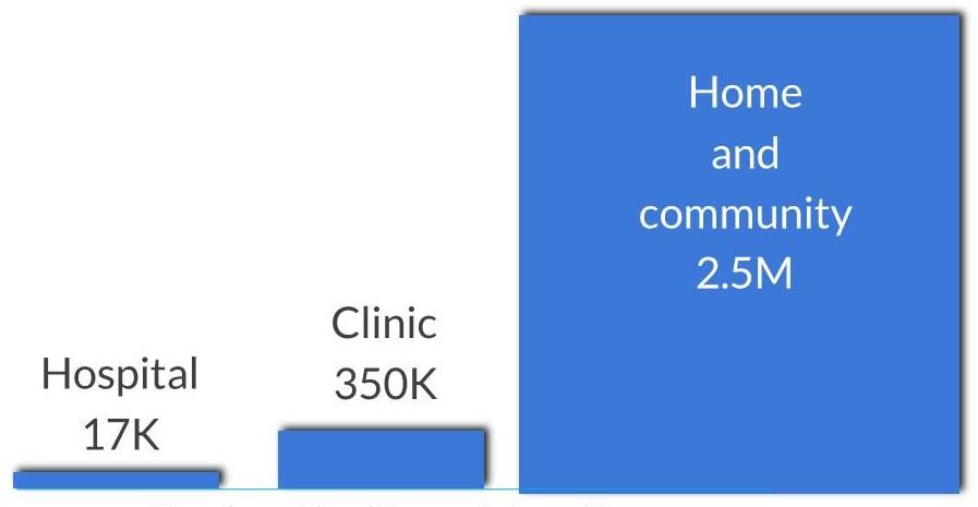 Bar Chart: Hospital 17K, Clinic 350K, Home and community 2.5M.