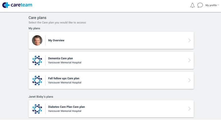 Screen shot of Careteam Care Plans
