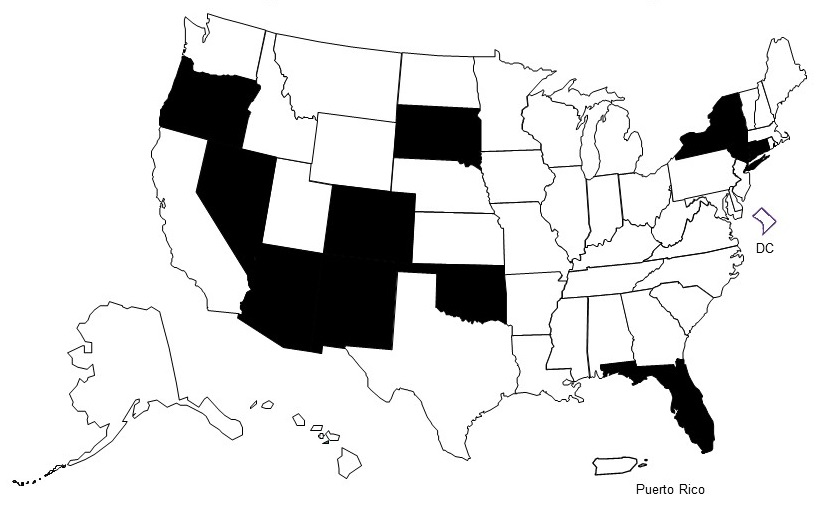 Map of the United States. Shaded states are Arizona, Colorado, Florida, Nevada, New Mexico, New York, Oklahoma, Oregon, and South Dakota.