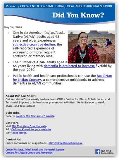 Screen shot of CDC Did You Know newsletter.